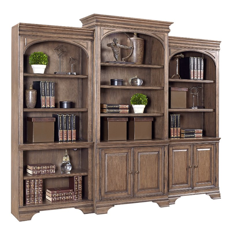 Chestnut Brown Bookcase Wall With Doors Arcadia