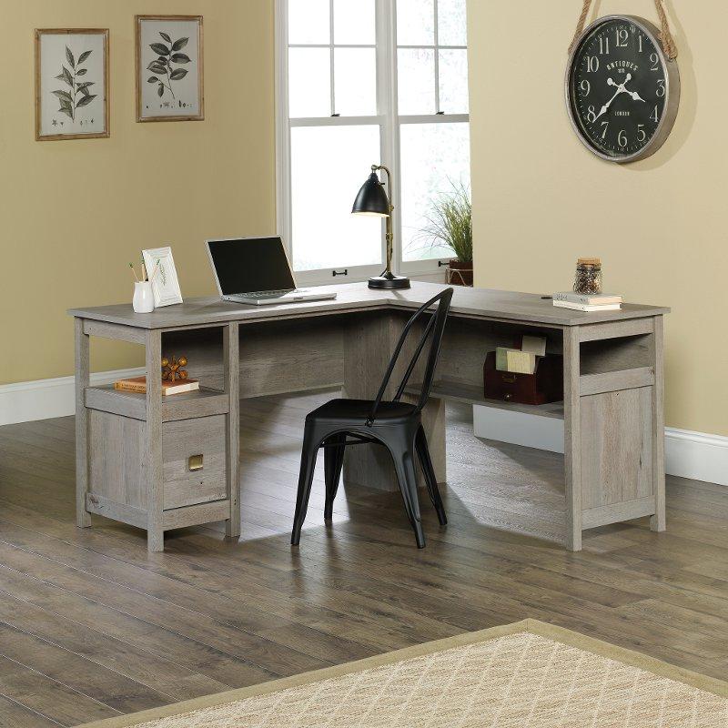 Oak L Shape Home Office Desk Cannery