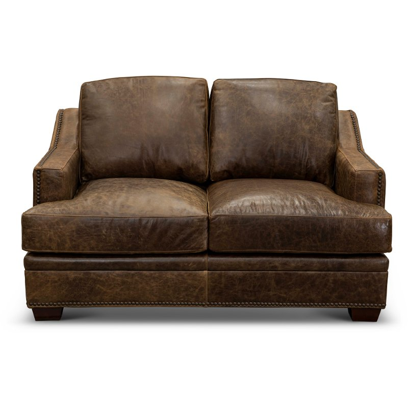 Clic Contemporary Brown Leather Loveseat Antique