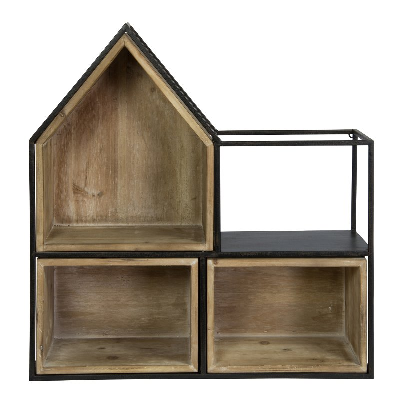 Rc Willey Orem: Black Metal And Wood Cubby Wall Shelf