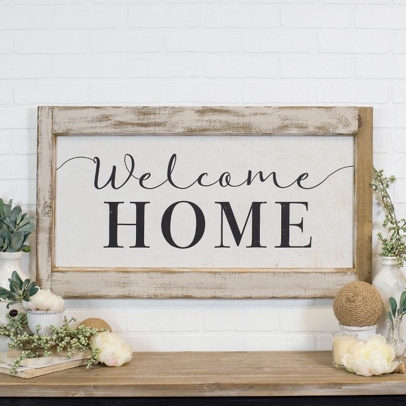 Distressed White And Black Welcome Home, Welcome Home Furniture