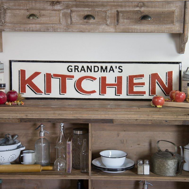 Red Black And White Grandma S Kitchen Metal Sign Rc Willey Furniture Store