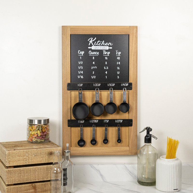 Wooden Black and White Kitchen Conversion Chart with Spoons