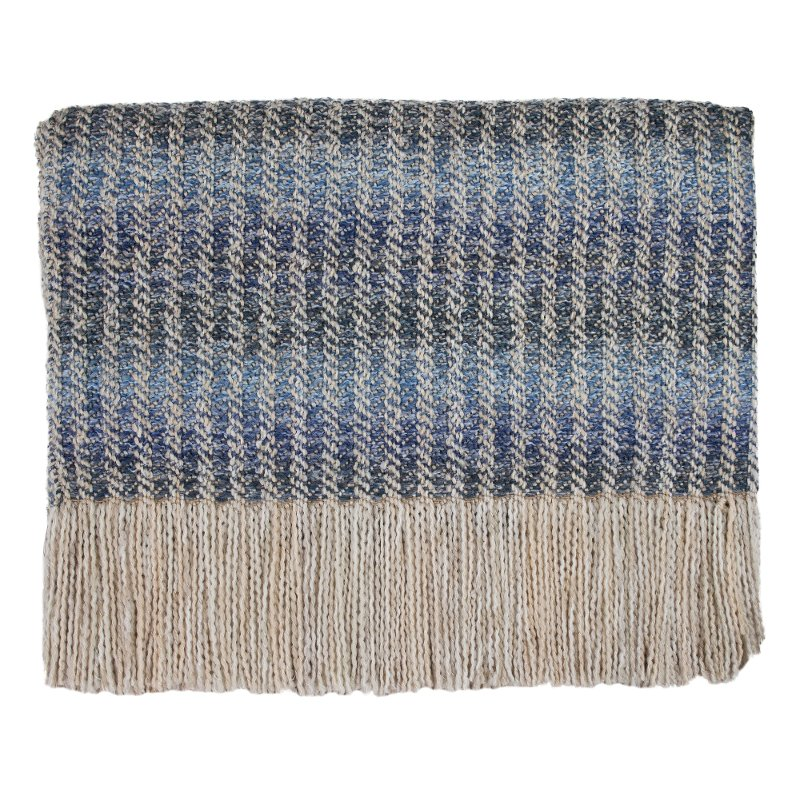 Rc Willey In Salt Lake City: Cream, Light And Dark Blue Quincy Throw Blanket