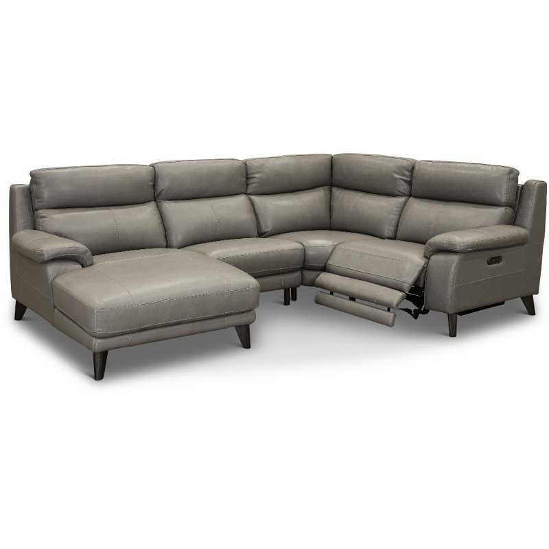 Elephant Gray 4 Piece Power Reclining Sectional Sofa - Venice