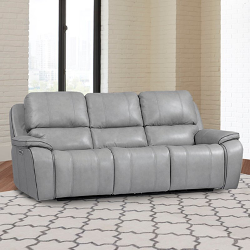 Mist Light Gray Leather Match Power, Gray Leather Furniture