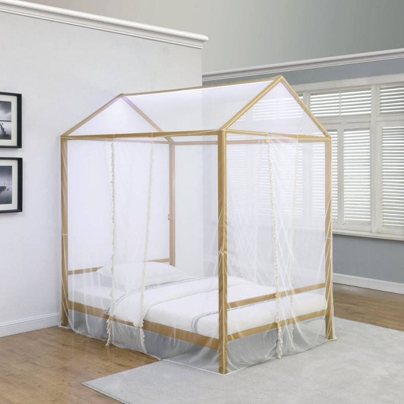 Canopy Bed.Modern Gold Twin Canopy Bed Etta Rc Willey Furniture Store