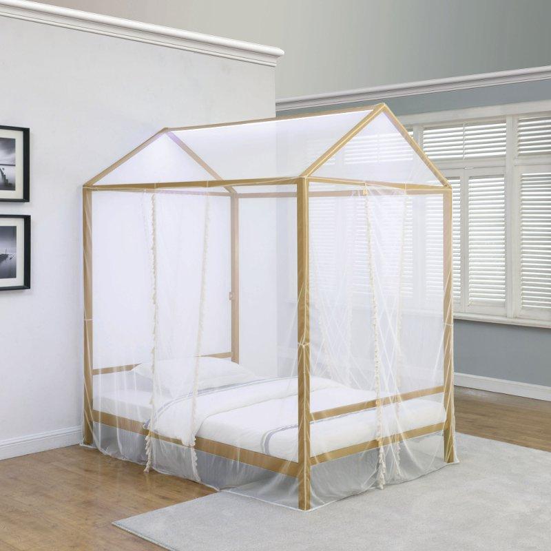 Modern Gold Twin Canopy Bed - Etta