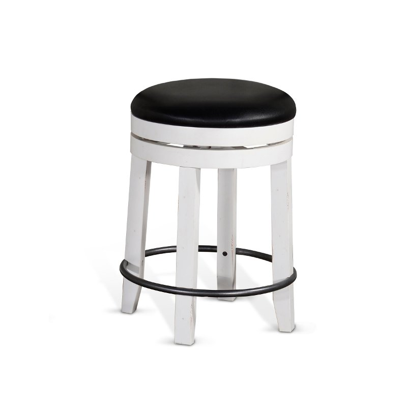 French Country White And Black Swivel Counter Height Stool
