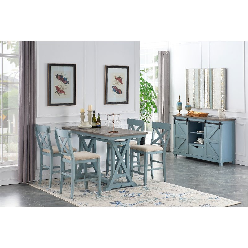 Farmhouse Blue 5 Piece Counter Height Dining Set Bar Harbor Blue Rc Willey Furniture Store