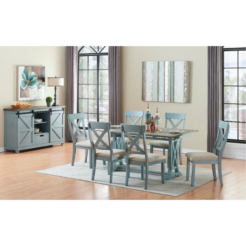 Farmhouse Blue 5 Piece Dining Set Bar Harbor Blue Rc Willey Furniture Store