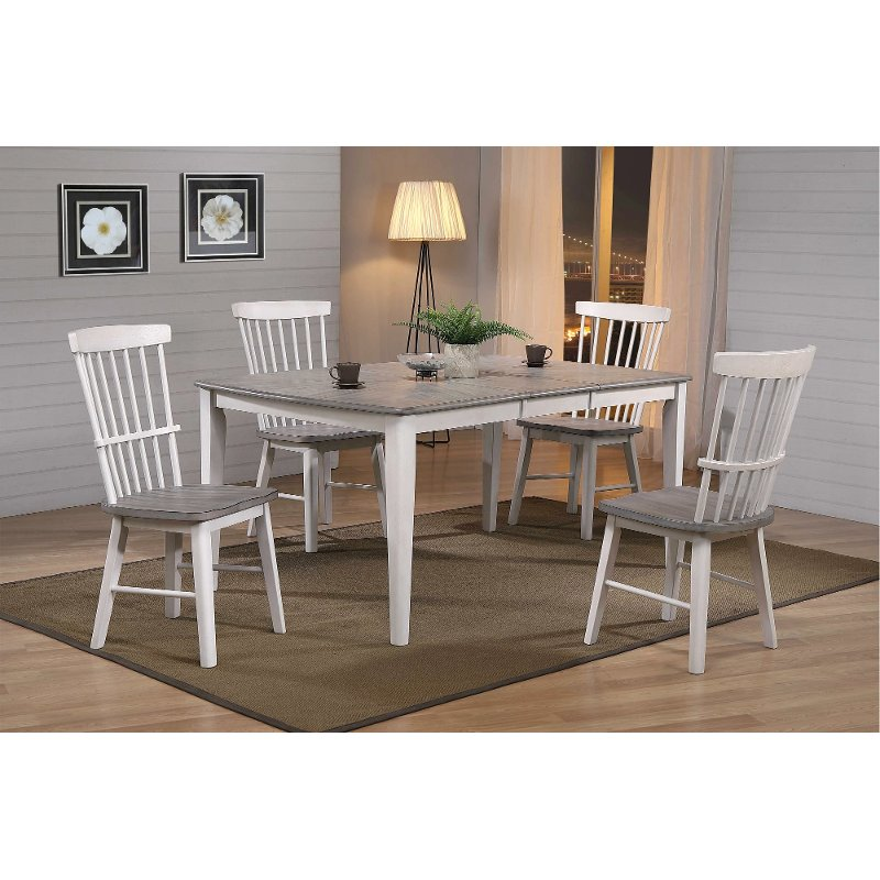 Farmhouse Whitewash And Gray 5 Piece Dining Set Newark Rc Willey Furniture Store