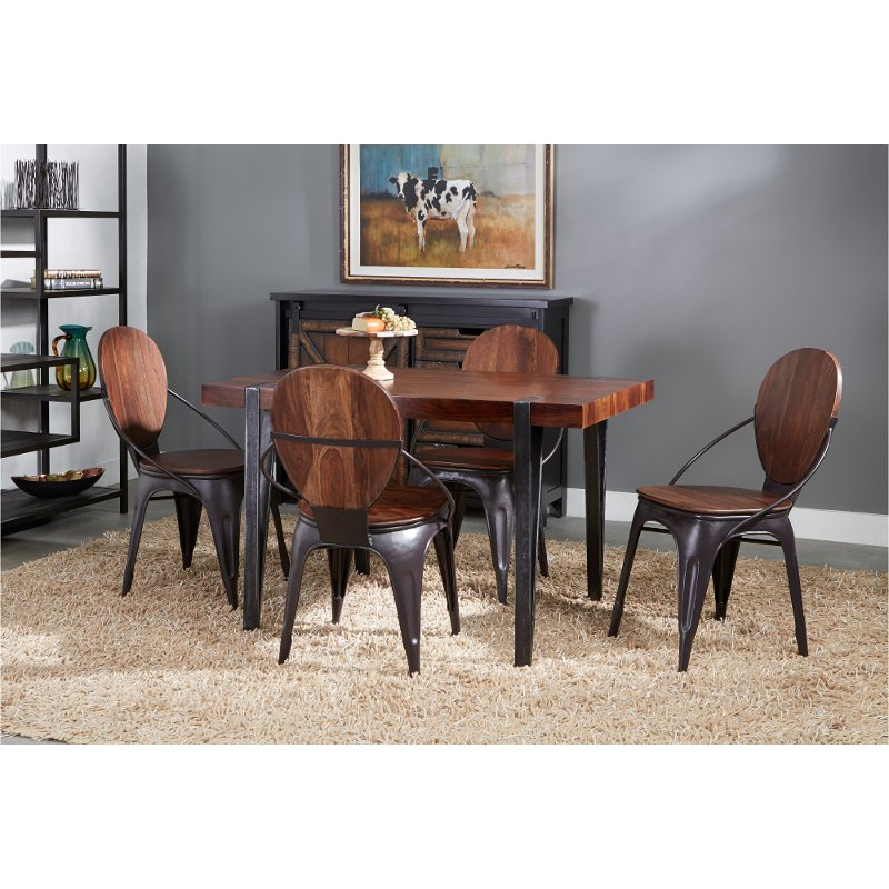 Contemporary Wood And Metal 5 Piece Dining Room Set Bradley Rc Willey Furniture Store