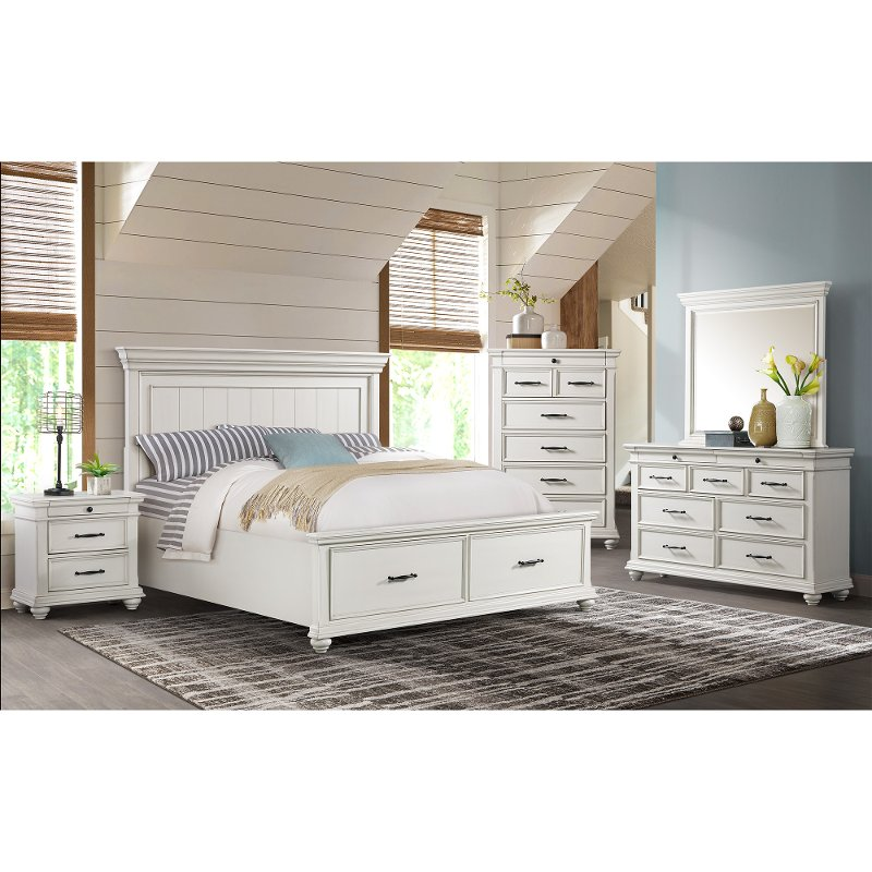 classic white 4 piece king bedroom set  slater  rc