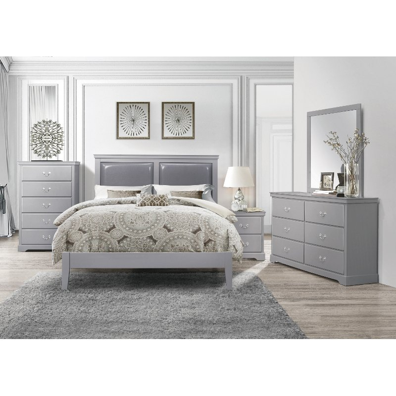 Contemporary Gray 4 Piece Queen Bedroom Set Seabright Rc Willey Furniture Store