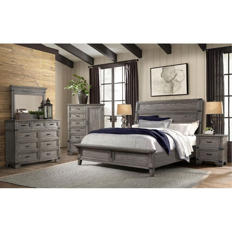 pewter gray 4 piece king bedroom set  forge  rc willey