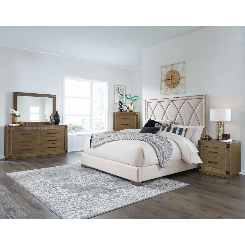 Contemporary Brown 4 Piece King Bedroom Set - Park Avenue