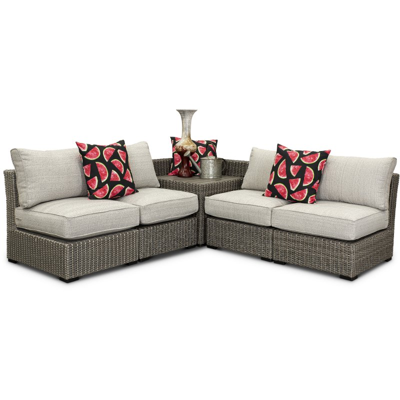 Wicker 5 Piece Patio Sectional with Storage - Tahoe