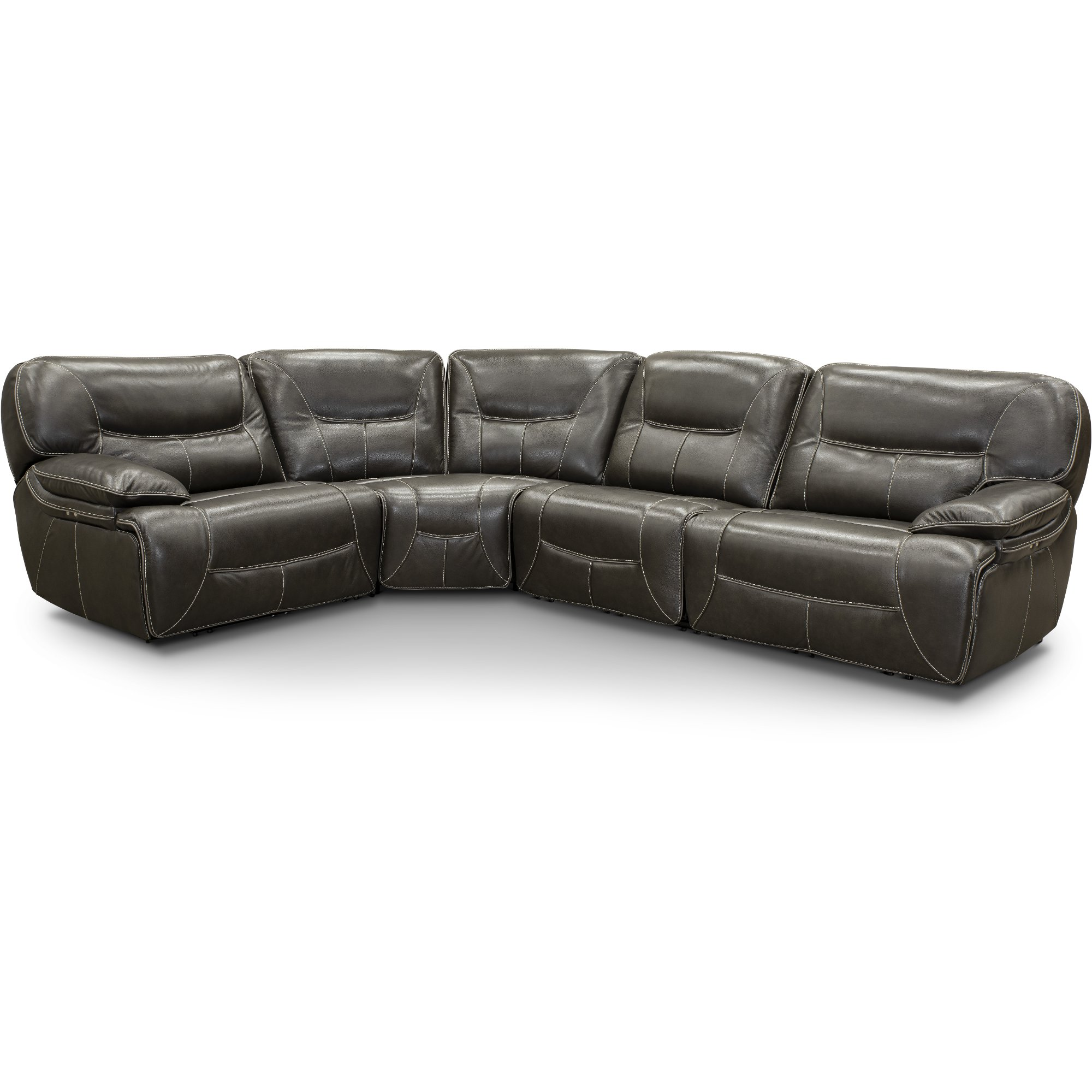 Steel Gray Leather Match 4 Piece Power Reclining Sectional