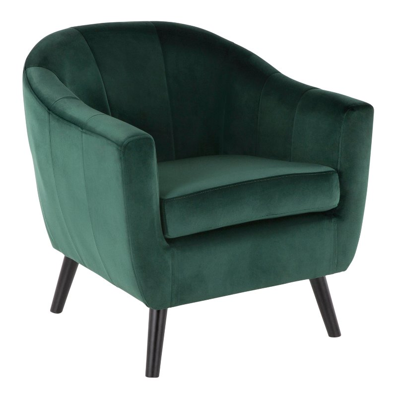 Green Velvet Contemporary Accent Chair Rockwell Rc