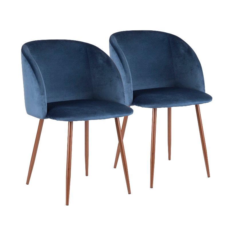 Contemporary Blue Velvet and Walnut Dining Room Chair (Set of 2) - Luna