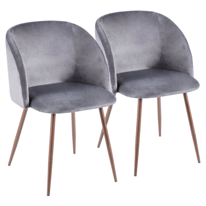 Contemporary Gray Velvet And Walnut Dining Room Chair Set