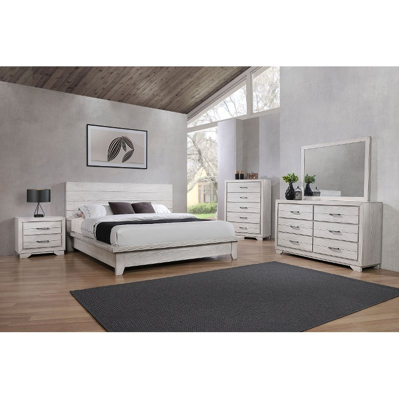 Contemporary White 4 Piece Queen Bedroom Set White Sands Rc