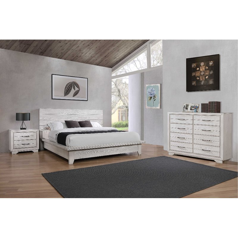 Contemporary White 3 Piece King Bedroom Set - White Sands