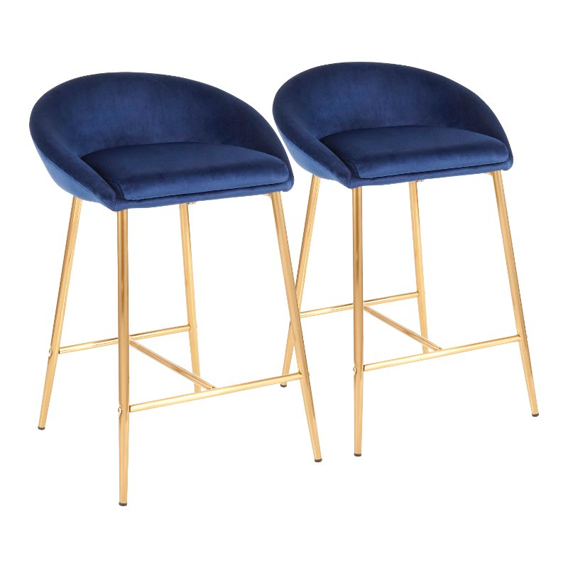 Fabulous Contemporary Glam Blue And Gold 26 Inch Counter Height Stool Set Of 2 Matisse Machost Co Dining Chair Design Ideas Machostcouk