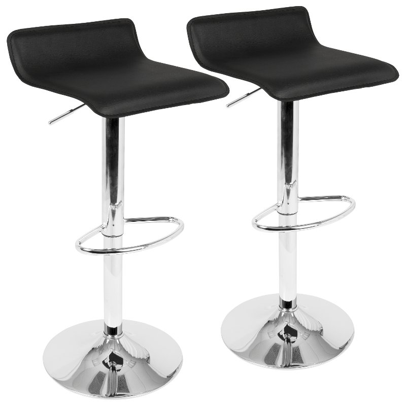 Cool Contemporary Black And Chrome Adjustable Bar Stool Set Of 2 Ale Machost Co Dining Chair Design Ideas Machostcouk