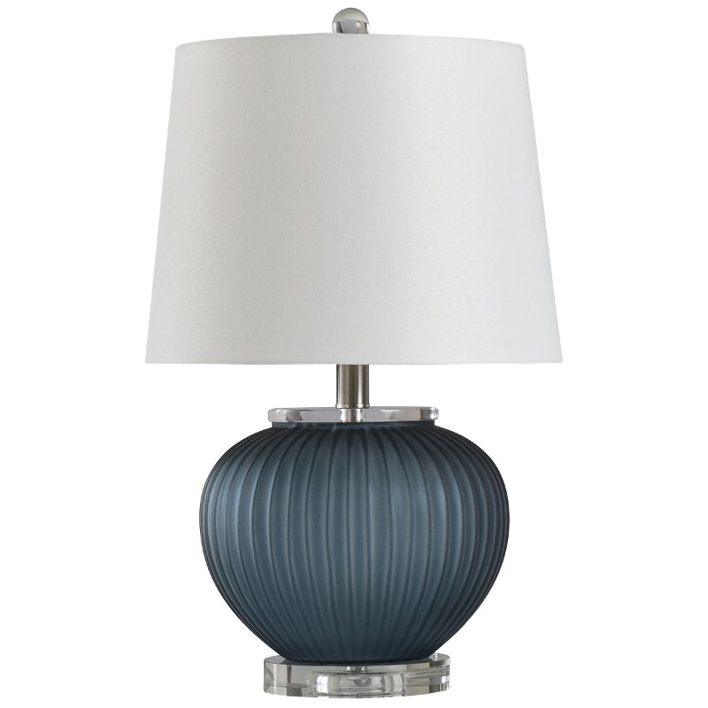 Blue Smoke Ribbed Glass Table Lamp with Clear Acrylic Base