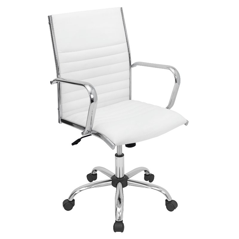 Excellent White Faux Leather Contemporary Swivel Office Chair Master Home Interior And Landscaping Palasignezvosmurscom