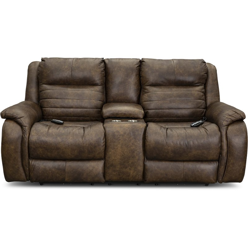 Incredible Brown Socozi Leather Match Power Reclining Loveseat With Console Essex Cjindustries Chair Design For Home Cjindustriesco