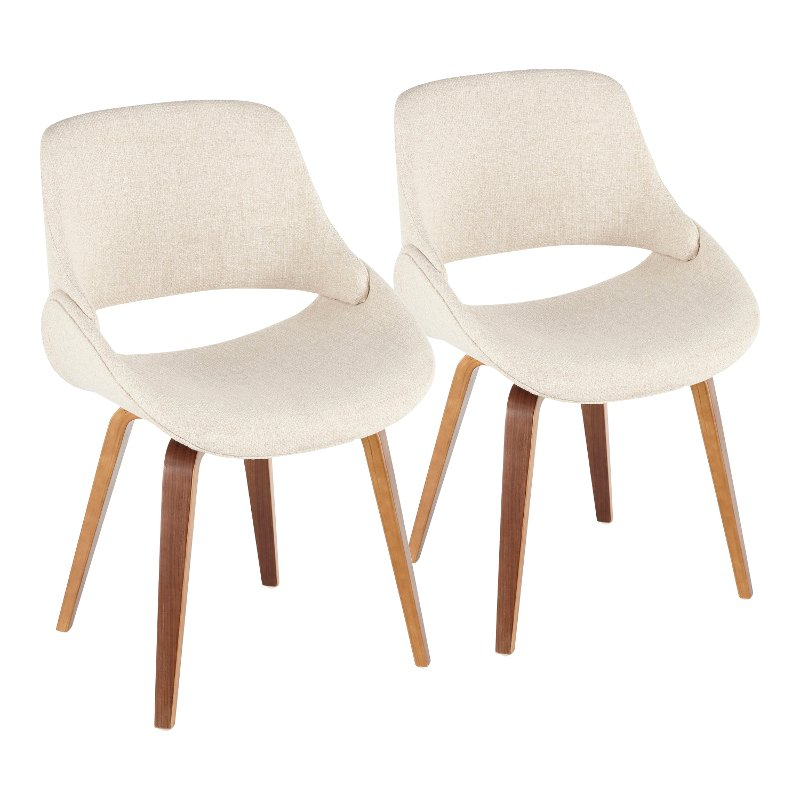 Mid Century Cream and Walnut Dining Room Chair (Set of 2) - Fabrizzi