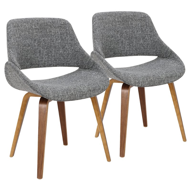 Mid Century Gray and Walnut Dining Room Chair (Set of 2) - Fabrizzi