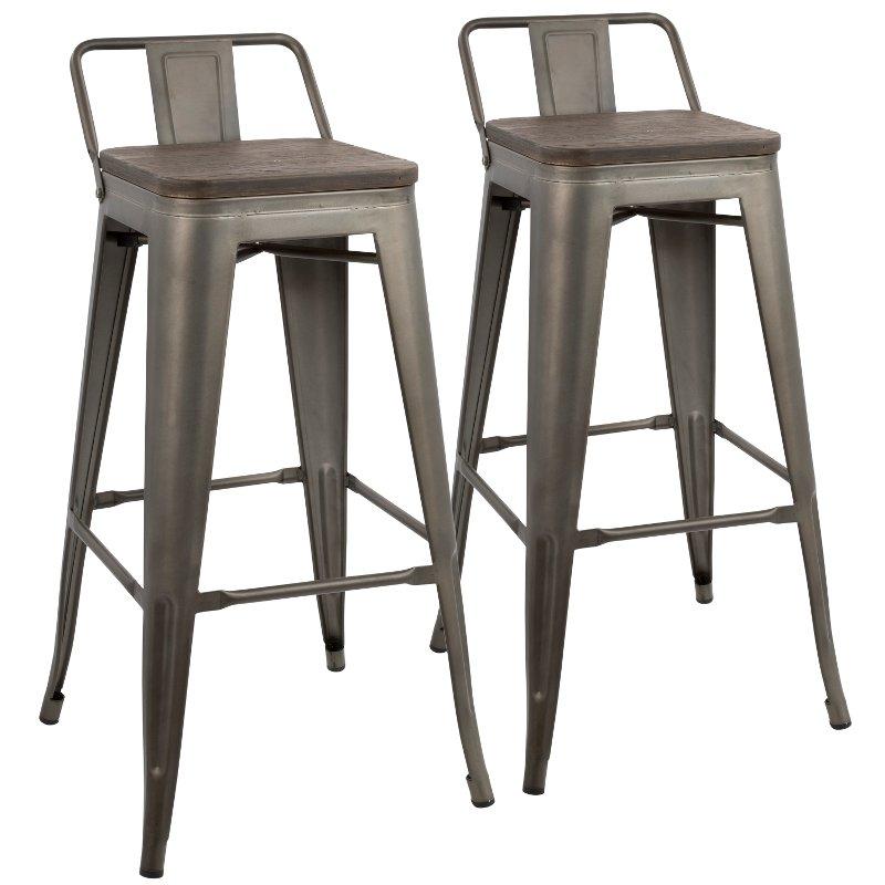 Astonishing Industrial Gray Metal 30 Inch Bar Stool Set Of 2 Oregon Cjindustries Chair Design For Home Cjindustriesco