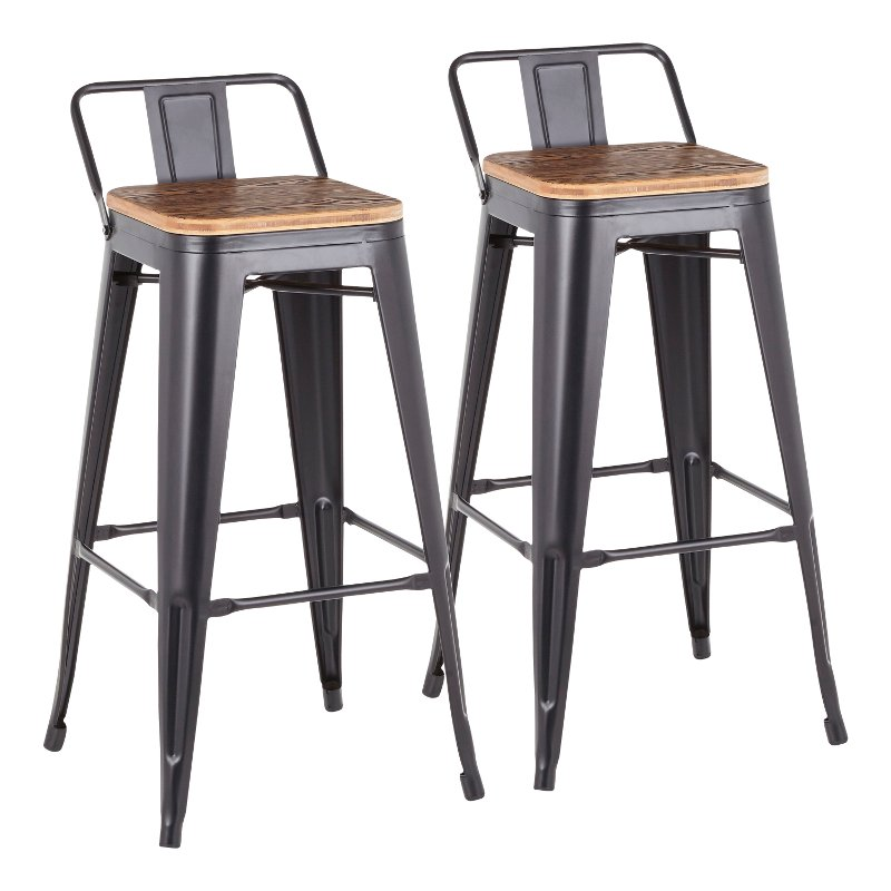 Strange Industrial Black Metal 30 Inch Bar Stool Set Of 2 Oregon Pabps2019 Chair Design Images Pabps2019Com