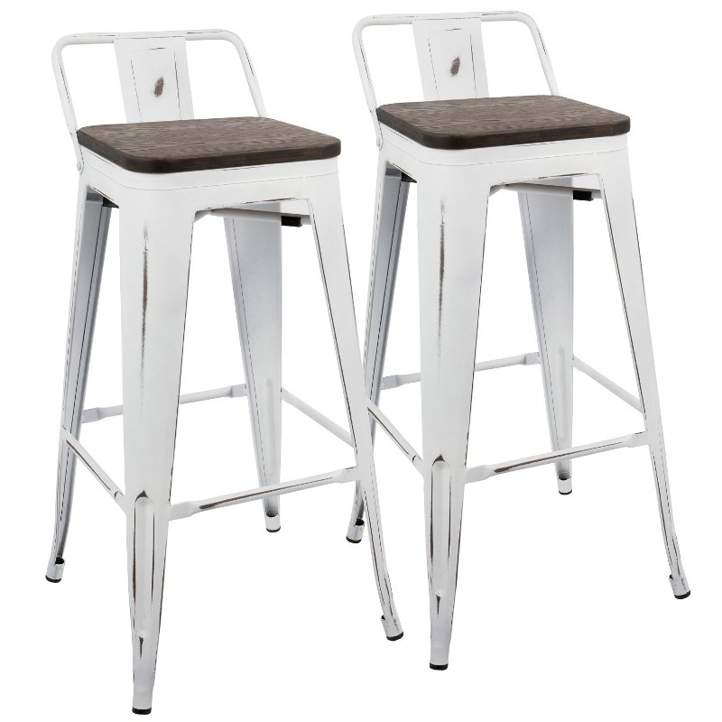 Miraculous Industrial Vintage White And Brown Metal 30 Inch Bar Stool Set Of 2 Oregon Andrewgaddart Wooden Chair Designs For Living Room Andrewgaddartcom