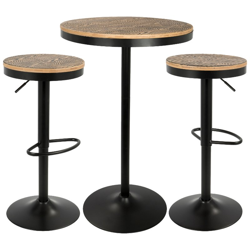 Amazing Industrial Farmhouse Brown And Black Adjustable 3 Piece Dining Set Dakota Andrewgaddart Wooden Chair Designs For Living Room Andrewgaddartcom