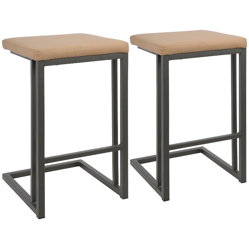 Miraculous Industrial Gray And Brown 26 Inch Counter Height Stool Set Of 2 Roman Gmtry Best Dining Table And Chair Ideas Images Gmtryco