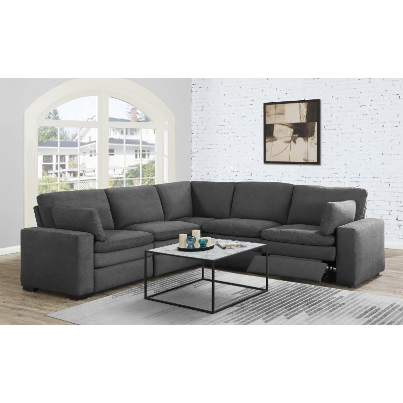 Prime Charcoal Gray 5 Piece Power Reclining Sectional Sofa Infinity Bralicious Painted Fabric Chair Ideas Braliciousco