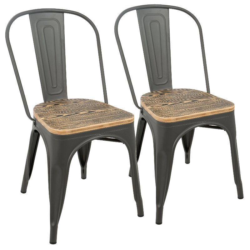 Farmhouse Gray and Brown Dining Room Chair (Set of 2) - Oregon
