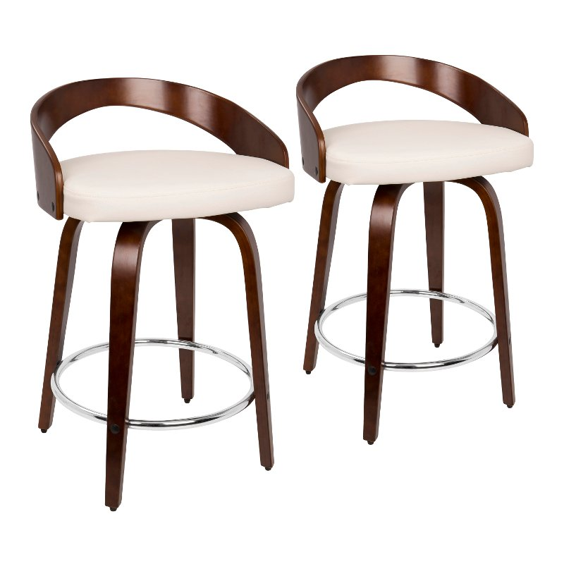 Grotto Mid Century Modern Counter Stool With Swivel In Cherry White Faux Leather By Lumisource Set Of 2, 24 Inch Height Chairs