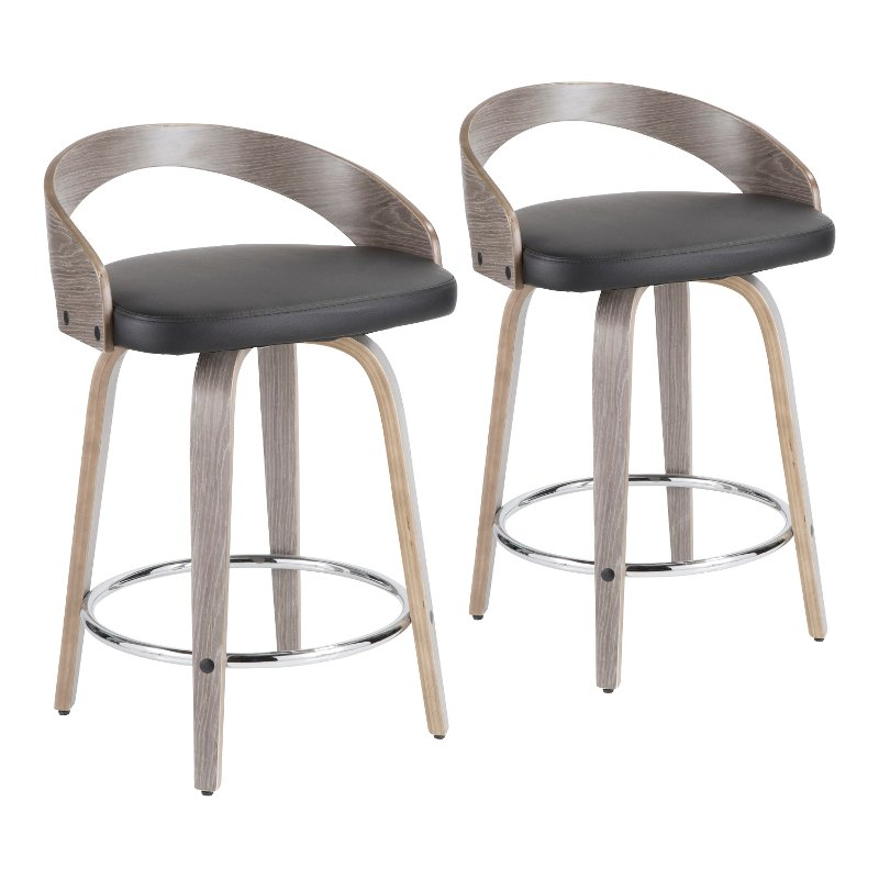 Tremendous Mid Century Gray And Black 24 Inch Counter Height Stools Set Of 2 Grotto Caraccident5 Cool Chair Designs And Ideas Caraccident5Info
