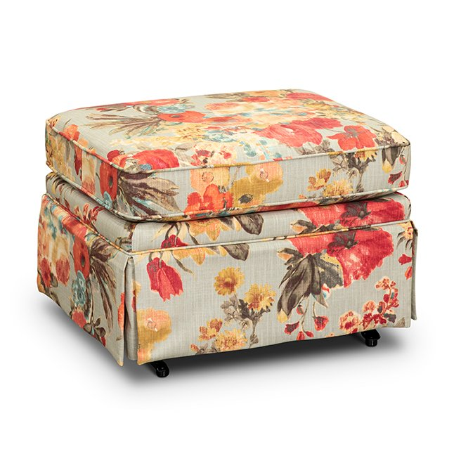 Miraculous Aqua Yellow And Muted Red Floral Glide Ottoman Quinn Gmtry Best Dining Table And Chair Ideas Images Gmtryco