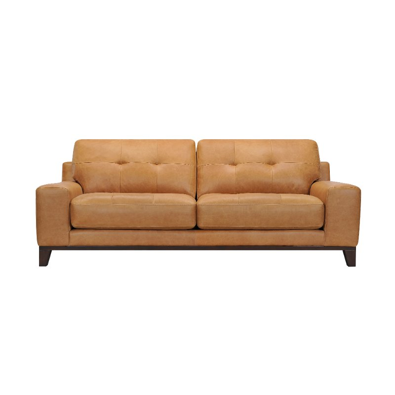 Modern Tan Leather Sofa - Jackson