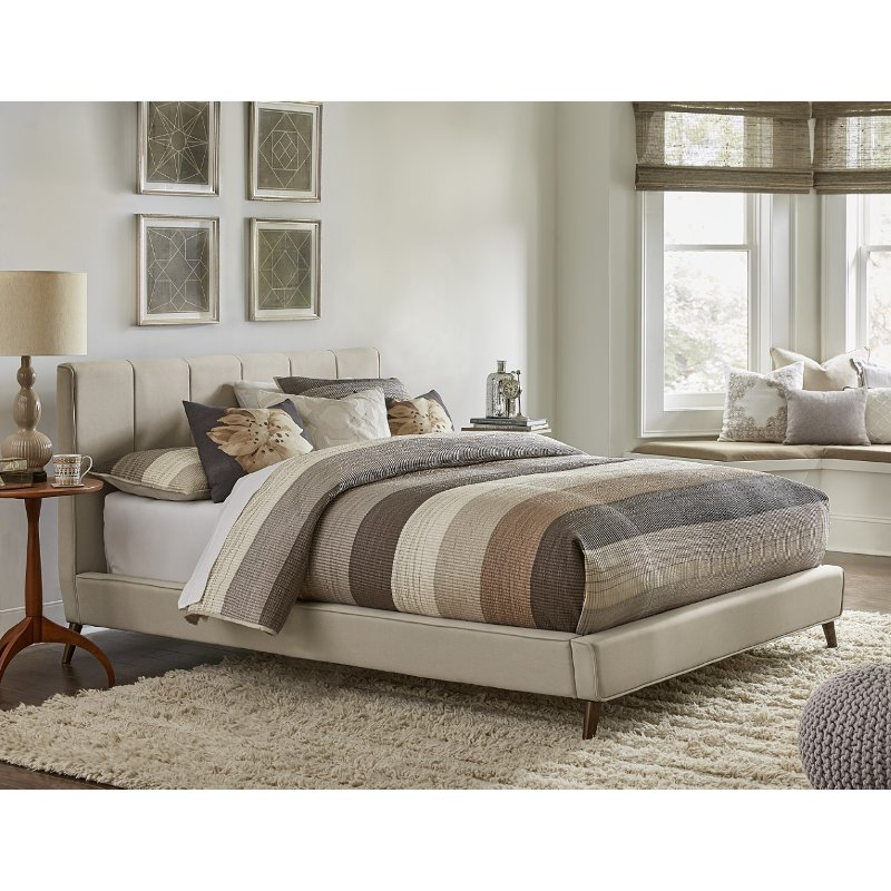 Contemporary Beige Queen Upholstered Platform Bed Aussie Rc Willey Furniture Store