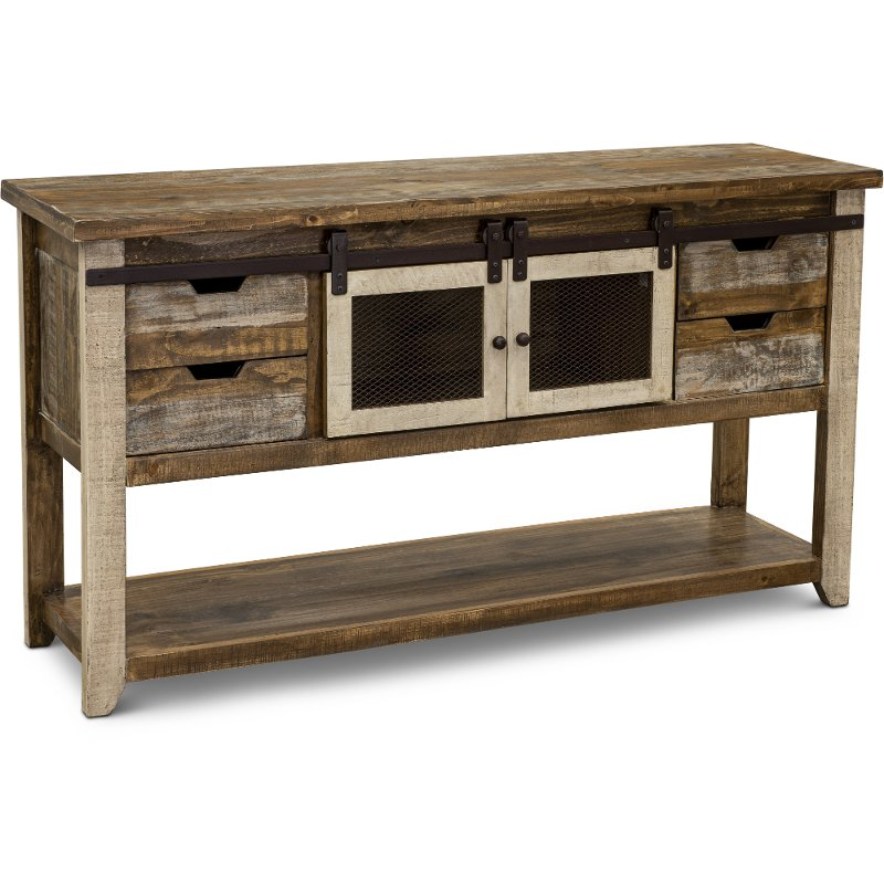 Rustic Pine Sofa Table With Iron