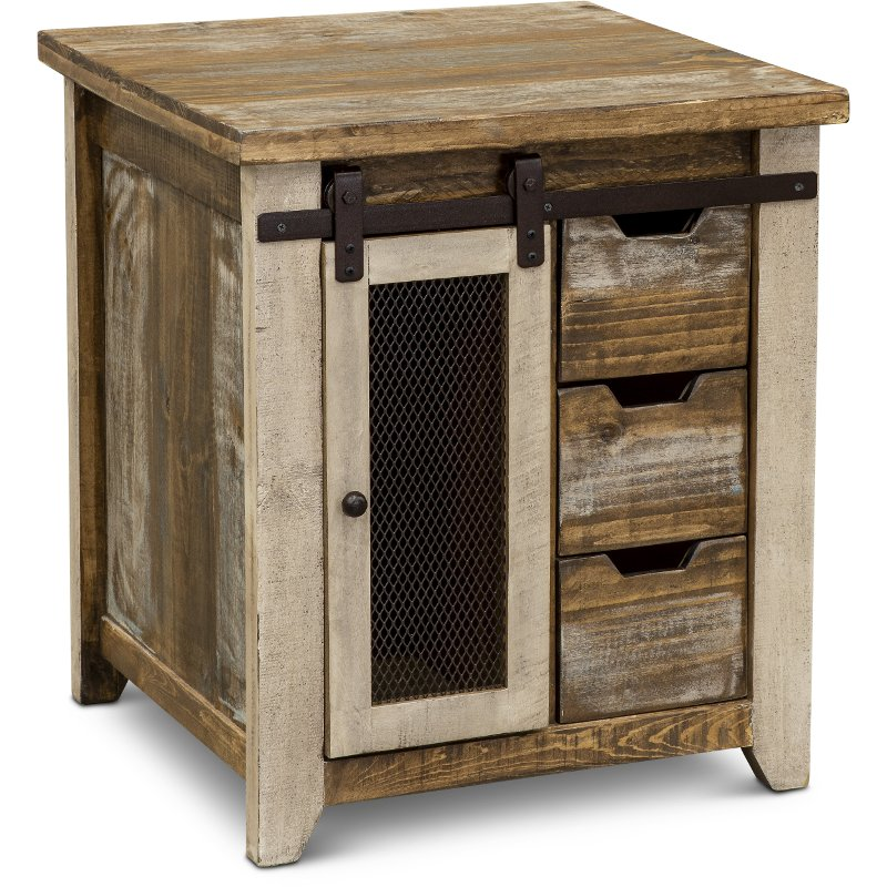 Rustic Pine End Table with Iron Accents - Antique Pine
