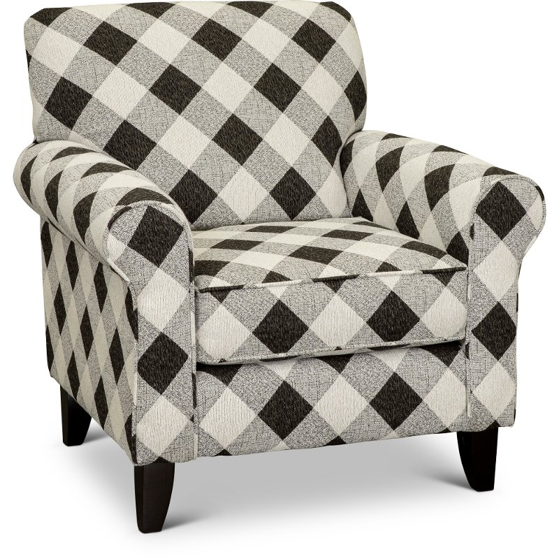 Casual Traditional Black Gingham Accent Chair Shadowfax